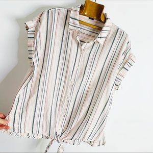 Sanctuary Cotton Linen Striped Tie Front Shirt